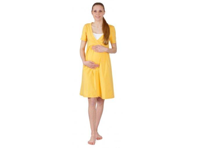 Těhotenská bavlněná noční košile ve svěží žluté barvě.