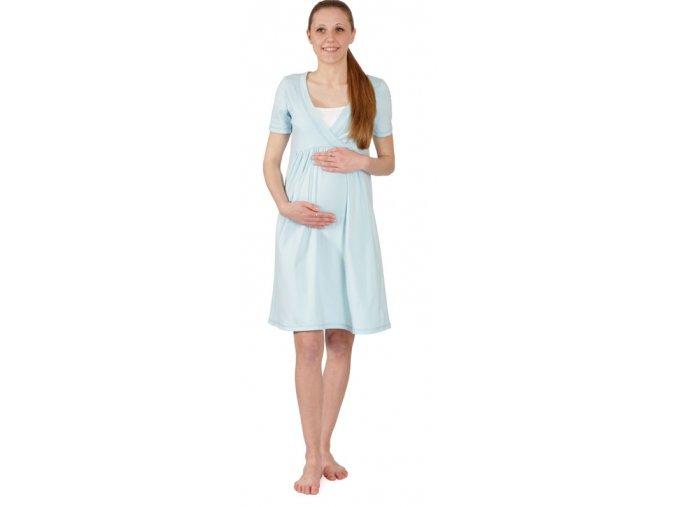 Těhotenská bavlněná noční košile ve svěží světle modré barvě.