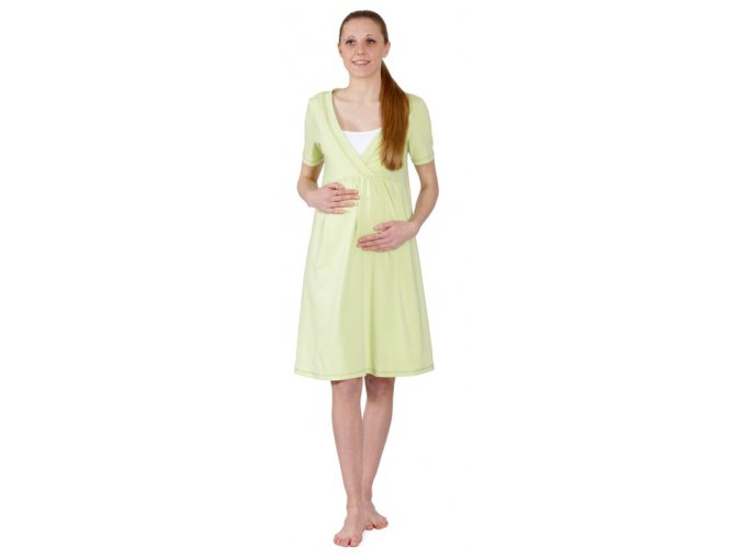 Těhotenská bavlněná noční košile v letní světle zelené barvě.