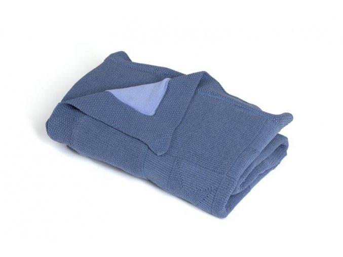 Pletená deka zateplená bavlna,modrá,hvězdy, Rialto Baby