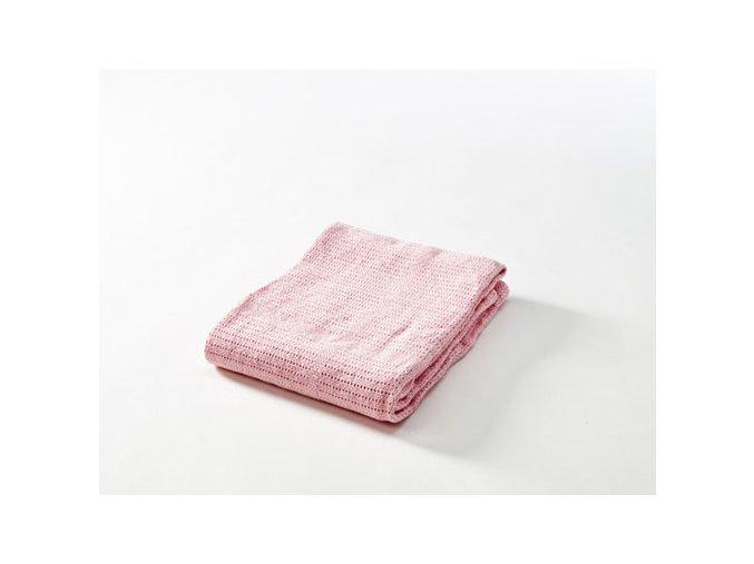 Dětská háčkovaná bavlněná deka Babydan světle růžová