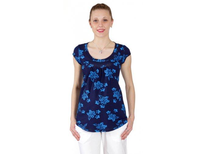 Těhotenské tričko Rialto Remich modrý tisk 4106 (Dámská velikost 36)