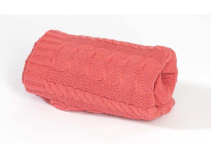 Pletená bavlněná deka Rialto Baby korálová