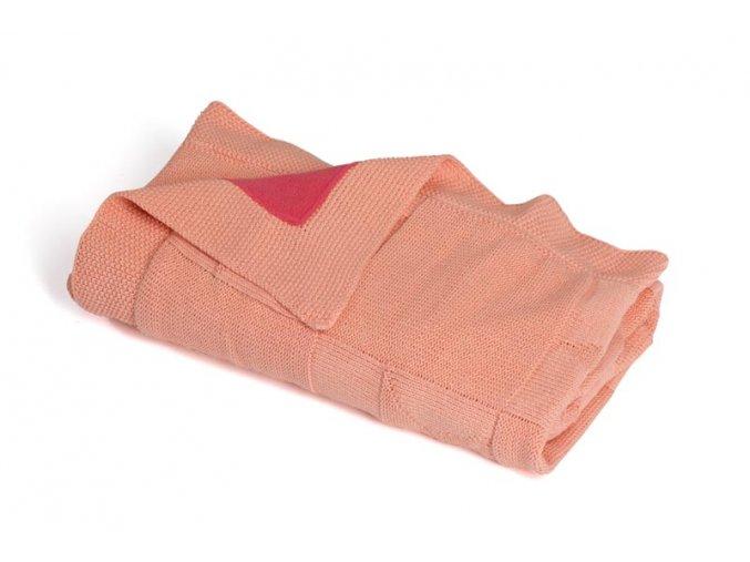 Pletená deka zateplená bavlna,růžová,hvězdy Rialto Baby