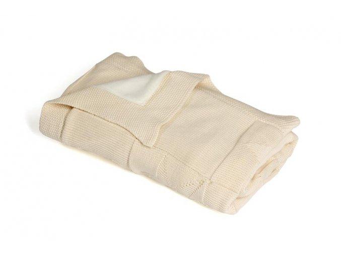 Pletená deka zateplená bavlna,béžová,hvězdy, Rialto Baby