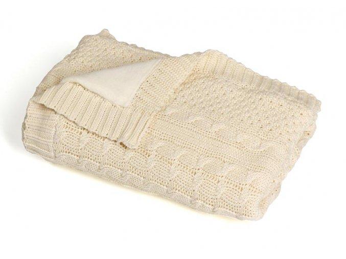 Pletená deka zateplená bavlna,béžová,romantik, Rialto Baby