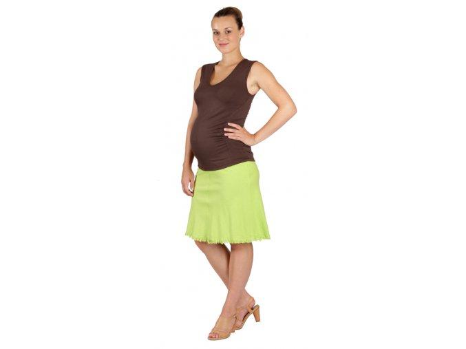 Těhotenská sukně Rialto Sanem lněná zelená 01248