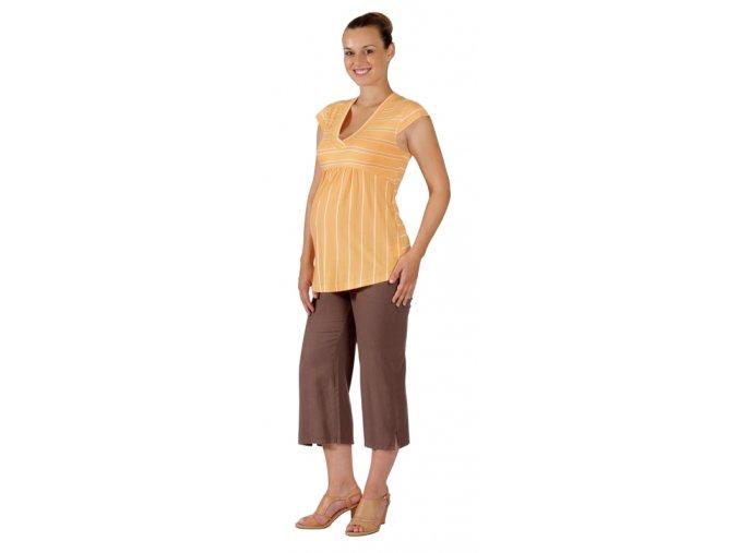 Těhotenské 3/4 kalhoty Rialto Verghia lněné hnědé 01246 (Dámská velikost 36)