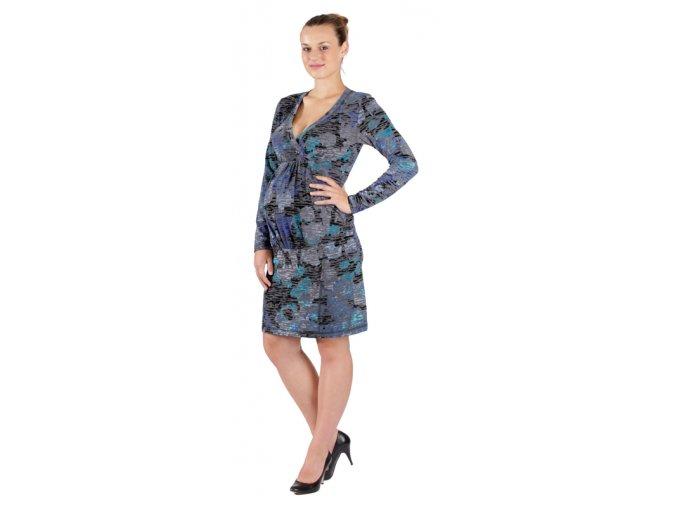 Těhotenské šaty Rialto Lopik modrý samet 0358 (Dámská velikost 36)