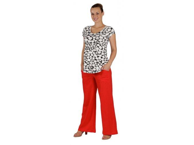Těhotenské kalhoty Rialto Bonifacio lněné červené 01242 (Dámská velikost 38)