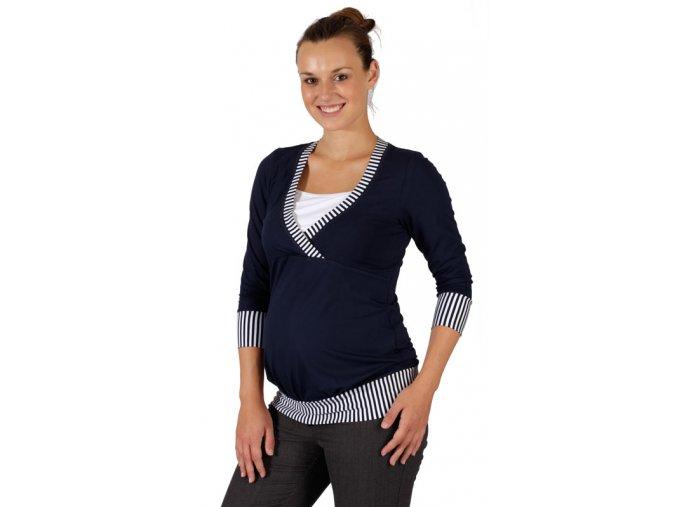 Těhotenské a kojicí tričko Rialto Darle modrá 0466 (Dámská velikost 36)