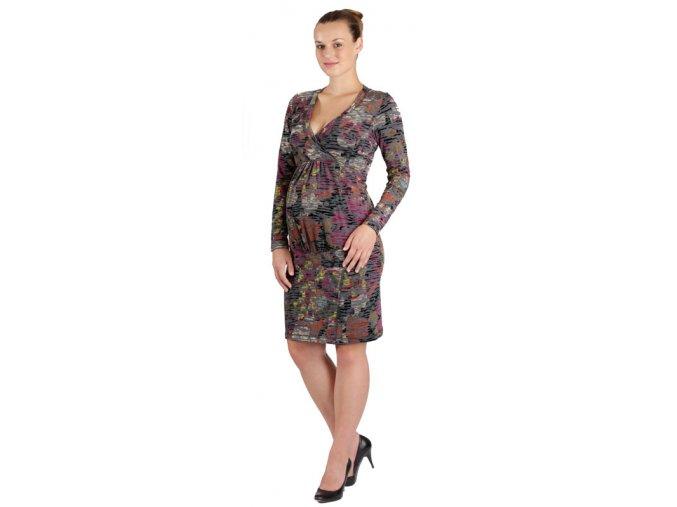 Těhotenské šaty Rialto Lopik růžový samet 0357 (Dámská velikost 36)