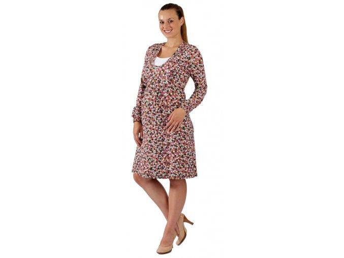 Těhotenské a kojící šaty Rialto Libin růžový puntík 0257 (Dámská velikost 36)