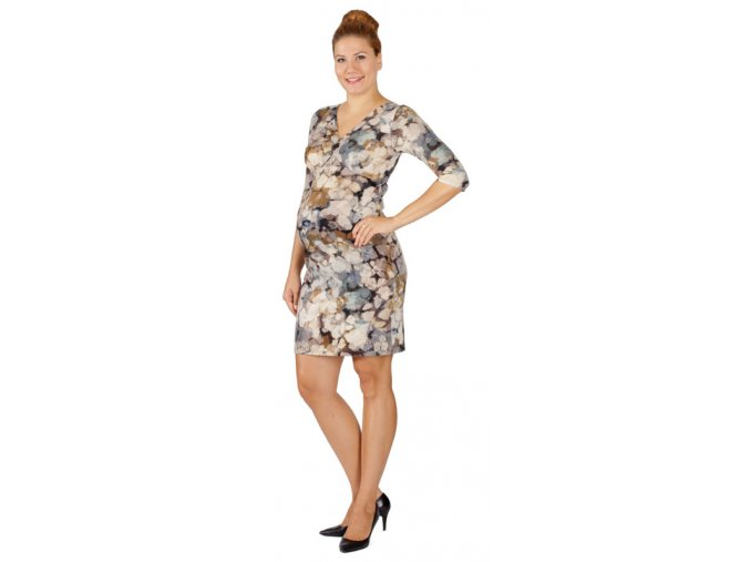 Těhotenské a kojící šaty Rialto Diva béžovo modrý vzor 0356 (Dámská velikost 36)