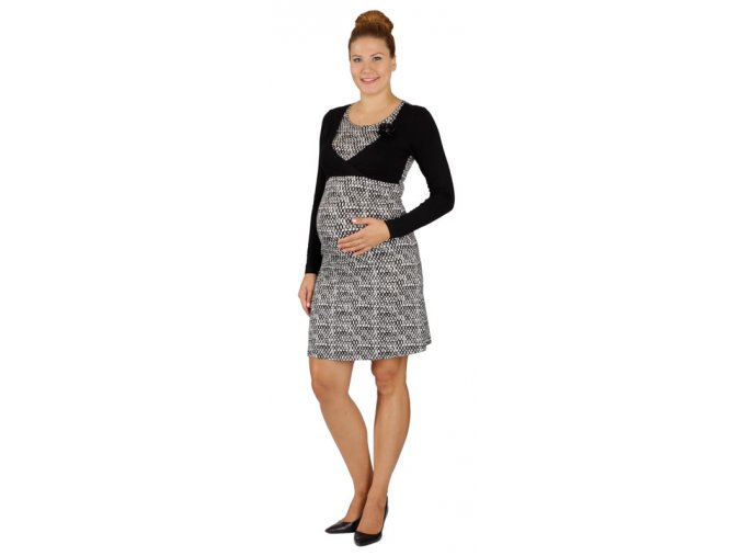 Těhotenské a kojící šaty Rialto LeDames černobílý vzor 0506 (Dámská velikost 36)