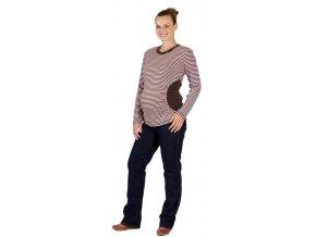 Těhotenské bavlněné tričko Rialto Rethel růžovohnědé pruhy 0158 (Dámská velikost 36)