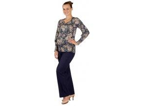 Těhotenské tričko Rialto Remon modrá + květ 0235 (Dámská velikost 36)