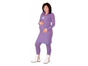 Těhotenské a kojící domácí šaty, oděv Rialto Luten růžovomodrý proužek 0380 (Dámská velikost 36)