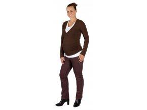 Těhotenské manšestrové kalhoty Rialto Steiny hnědé 19206 (Dámská velikost 34)