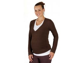 Těhotenské tričko Rialto, svetr Rialto Revin hnědá lurex 0154 (Dámská velikost 36)