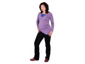 Těhotenské a kojicí tričko Rialto Diren růžovomodrý proužek 0380 (Dámská velikost 36)
