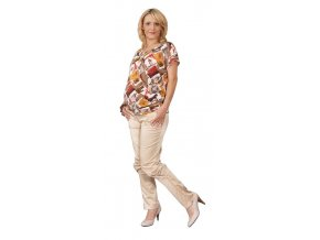 Těhotenské tričko Rialto Court hnědorezavý ppotisk 0294 (Dámská velikost 36)