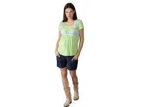 Těhotenské a kojicí tričko Rialto Duvy zelená pruh 0060 (Dámská velikost 42)