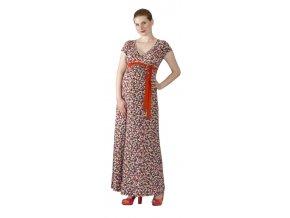 Těhotenské a kojící šaty Rialto Lonchette růžový puntík 0257 (Dámská velikost 36)