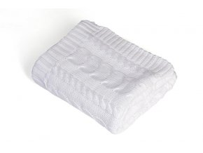 Pletená deka bavlna,bílá,copánky, Rialto Baby