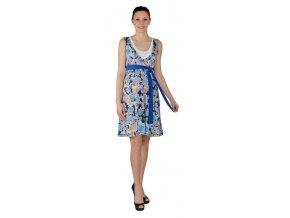 Těhotenské a kojící šaty Rialto Laarne modrý květ 0515 (Dámská velikost 38)
