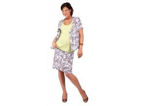 Těhotenský kabátek Jallet bílá s hnědým vzorem 0262