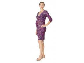 Těhotenské a kojící šaty Rialto Diva fialová kolečka 0535 (Dámská velikost 36)