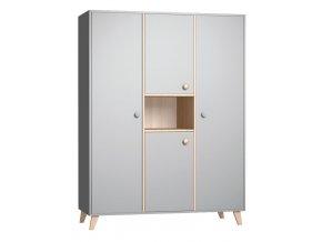 Třídílná skříň Colette grey do dětského pokojíčku