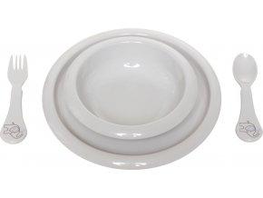 Dětská jídelní sada sestává ze dvou talířků a lžičky s vidličkouB6599118