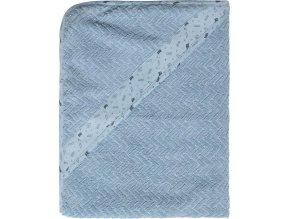 Luxusní modrá dětská osuška s kapucí vyrobené ze žakárového froté