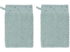 Tyrkysová mycí žínka pro kojence z luxusního bavlněného froté s žakárovým vzorem
