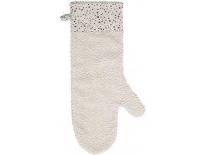 Béžová koupací žínka z luxusního žakárového froté ve tvaru velké rukavice