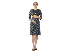 Těhotenské šaty Rialto Lariva modrozelené listy 0523 (Dámská velikost 36)