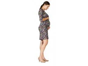Těhotenské a kojící šaty Rialto Diva kytičky na černé 0540 (Dámská velikost 38)