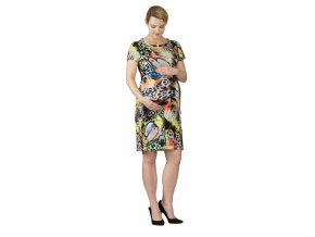 Těhotenské šaty Rialto LaClere oranžovozelený potisk 0532 (Dámská velikost 40)