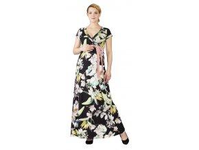 Těhotenské a kojící šaty Rialto Lonchette květy na černé 0550 (Dámská velikost 36)