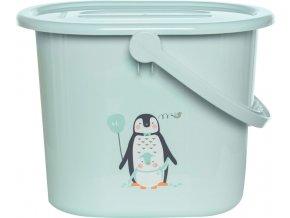 Mentolový kyblík na pleny s víkem od Bébé-Jou s motivem tučňáka Lou Lou