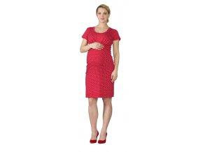 Těhotenské šaty Rialto Lees červená s puntíky 0562 (Dámská velikost 36)