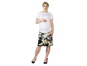 Těhotenská sukně Rialto Braine květy na černé 0550