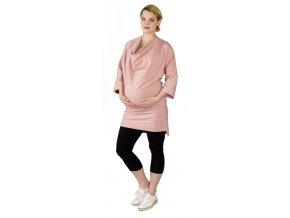 Těhotenské teplákové šaty/mikina Rialto Larivera starorůžová 0555 (Dámská velikost 36)