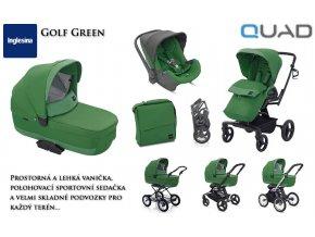 Kočárek Inglesina Quad Golf Green, komplexní řešení pro přepravu od narození do 3 let