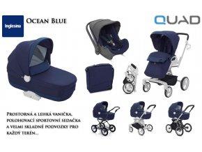 Zvýhodněná sada dětského kočárku Quad Ocean Blue s pláštěnkou a vnitřní matrací do hluboké vaničky