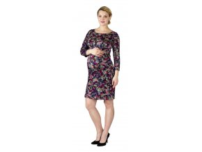 Těhotenské šaty Rialto LArott barevná pírka 0528 (Dámská velikost 34)