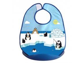 Bryndáček s korýtkem dokonale chrání oděv dítěte, motiv tučňáků.