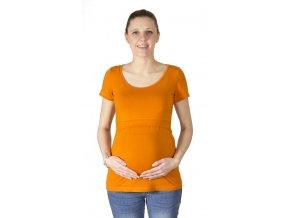 kojící a Těhotenské tričko z modalu Rialto Delies, oranžová 0639 (Dámská velikost 36)